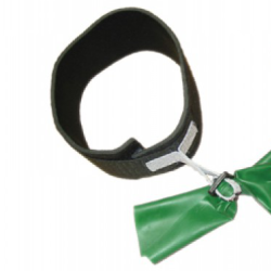 Adjustable cuff attachment on a green resistance band.