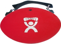 Red, soft ergonomic medicine ball with adjustable strap.