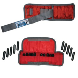 2 images of red, variable weight cuffs with adjustable straps and metal inserts.